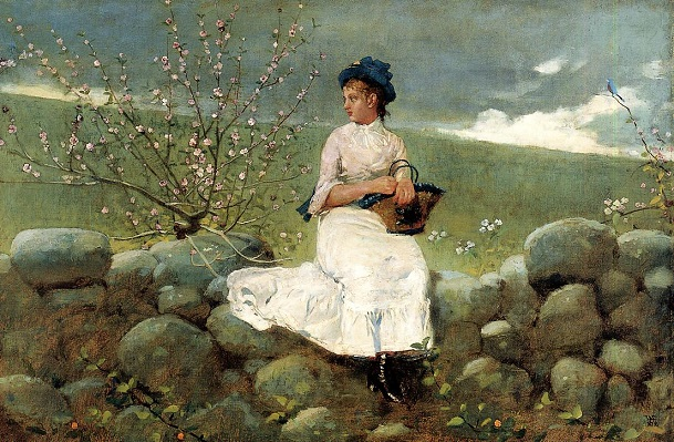 Girl Sitting on Wall, Homer